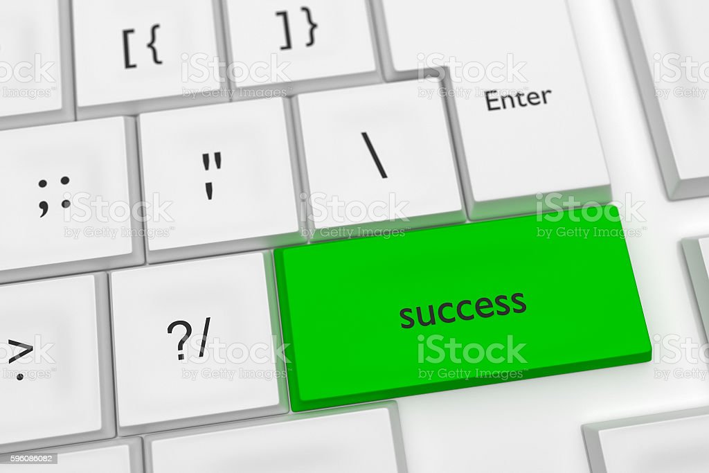 Computer Keyboard: Success On A Green Key, 3d illustration royalty-free stock photo