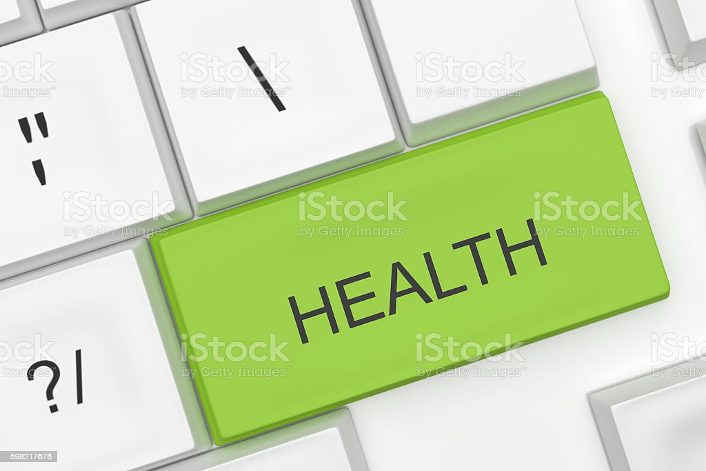 Computer Keyboard: The Word Health On A Green Key, illustration foto royalty-free