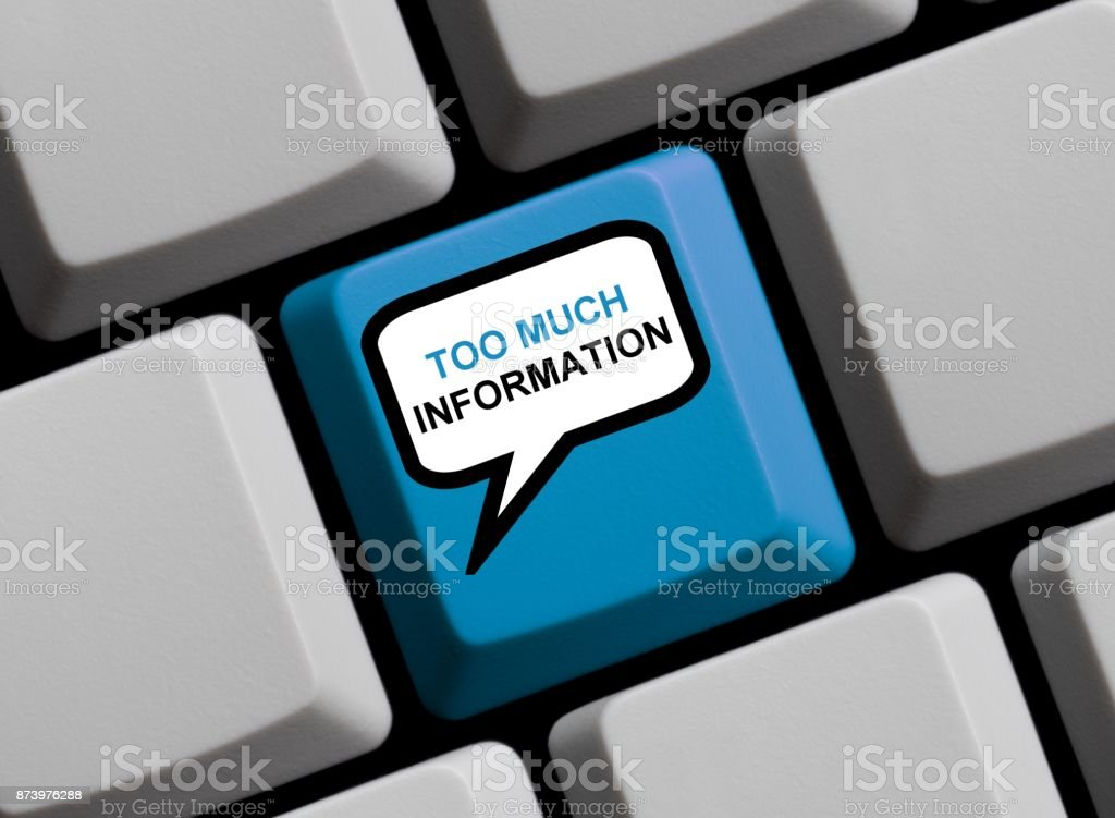 Computer Keyboard: Too much information stock photo
