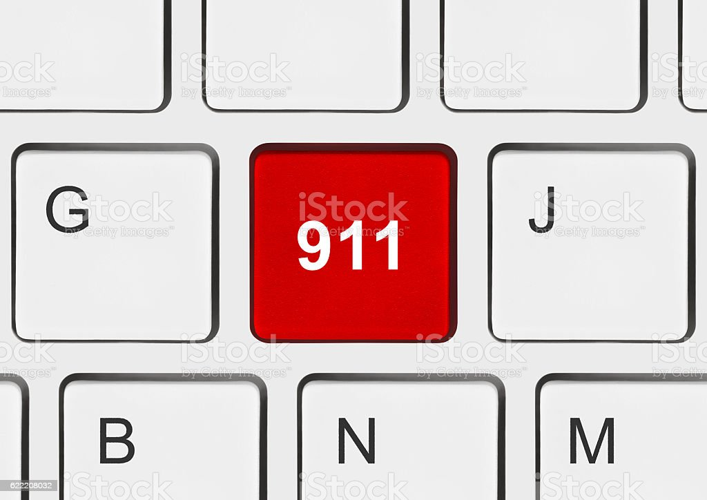 Computer keyboard with 911 key stock photo