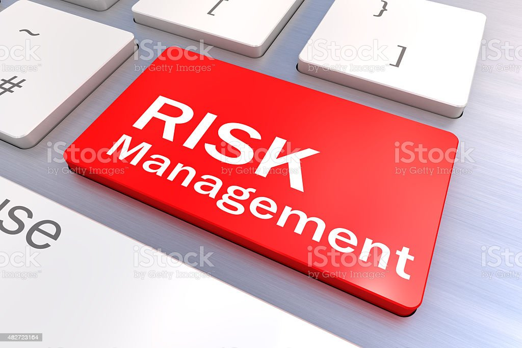 Computer keyboard with a Risk Management Button Concept stock photo