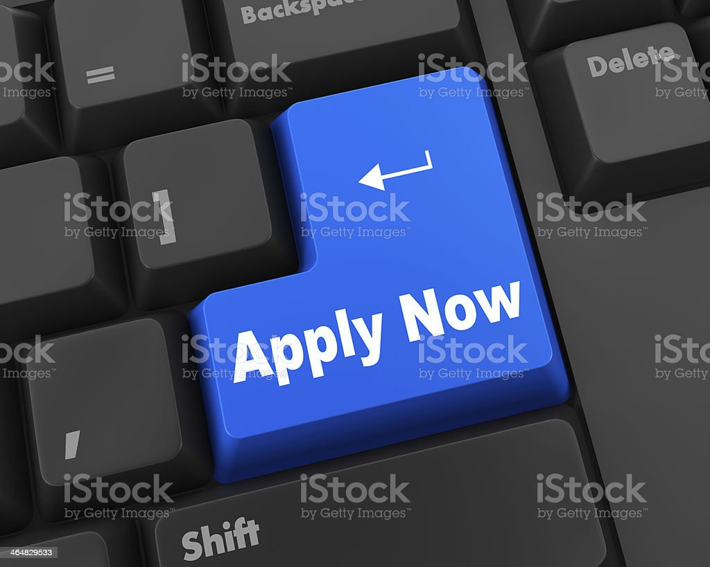 Computer keyboard with an apply now button stock photo