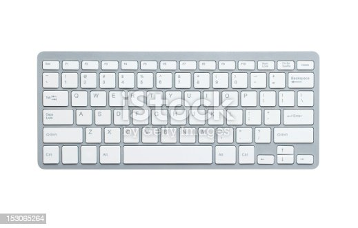 Modern aluminum computer keyboard isolated on white background with clipping path