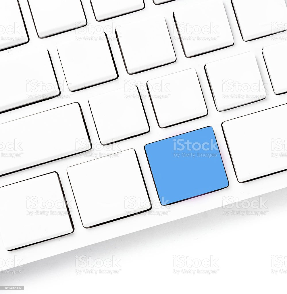 Computer keyboard with colored blank keys for your own idea. royalty-free stock photo