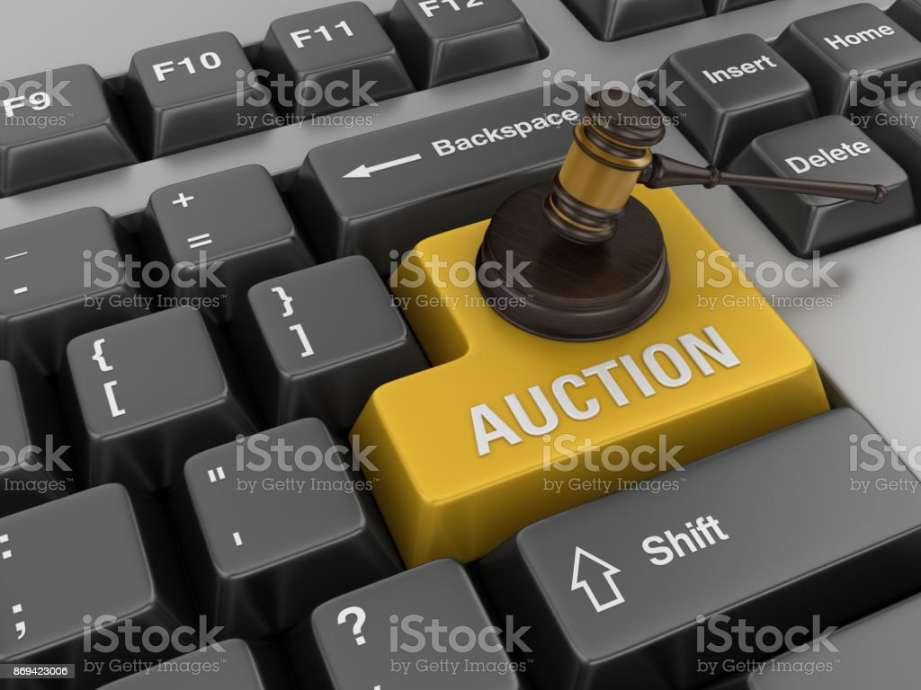 Computer Keyboard with Gavel stock photo