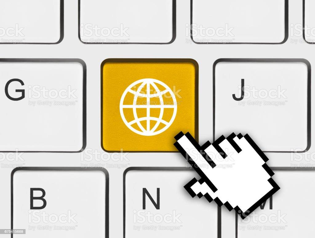 Computer keyboard with Globe key photo libre de droits