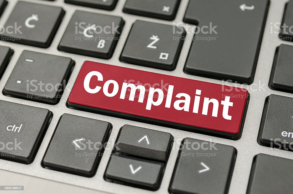 Computer keyboard with the word Complaint stock photo