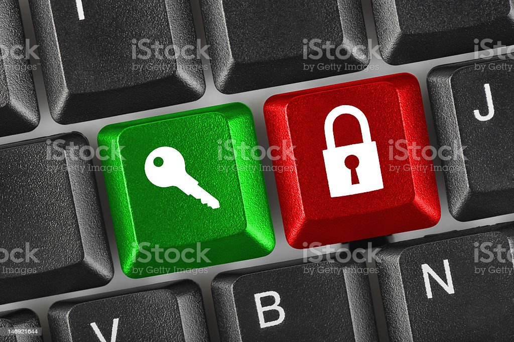 Computer keyboard with two security keys royalty-free stock photo