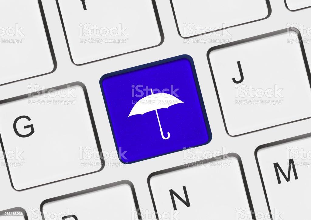 Teclado con tecla de paraguas - Foto de stock de Abierto libre de derechos