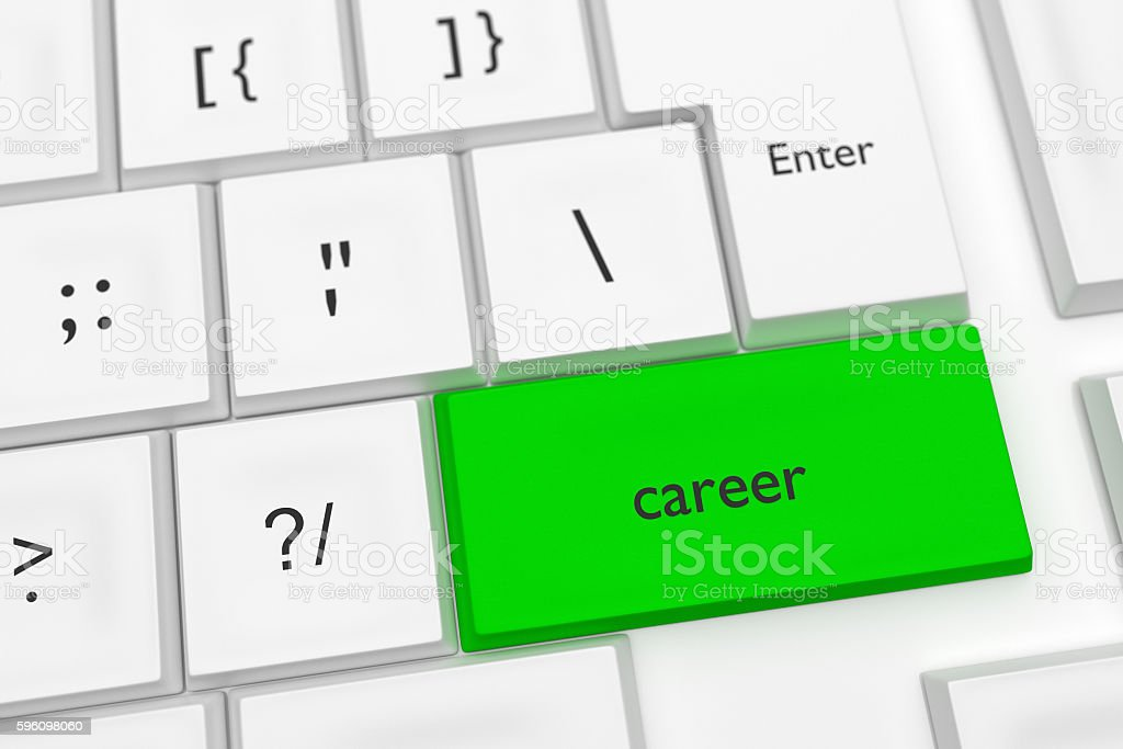 Computer Keyboard: Word Career On A Green Key, 3d illustration royalty-free stock photo