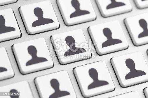 istock Computer keys with avatar symbols 172484765