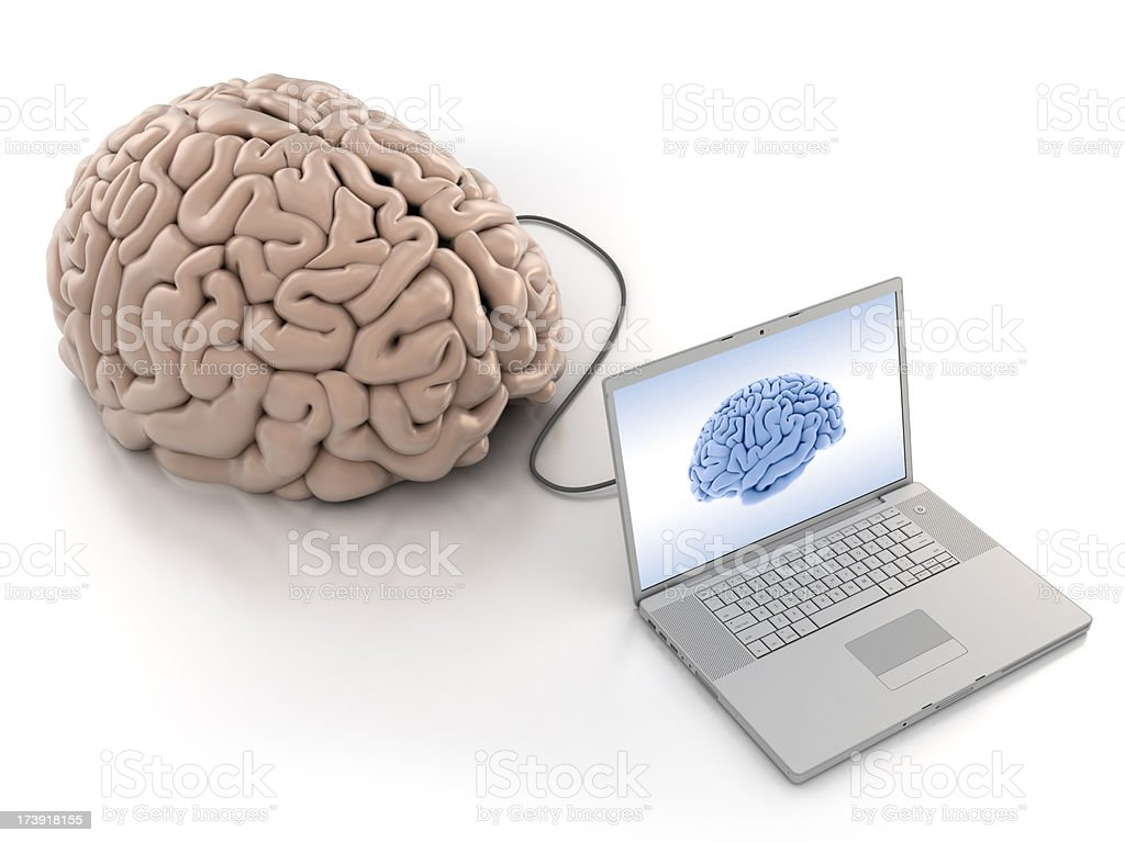Computer laptop connected to brain - clipping path royalty-free stock photo