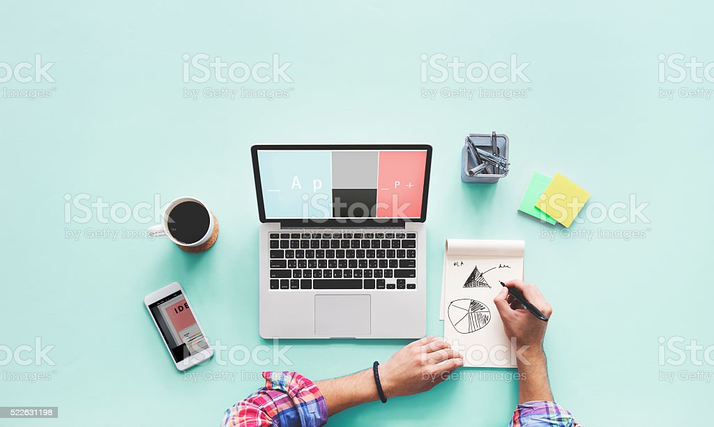 Computer Laptop Drawing Working Desk Concept stock photo