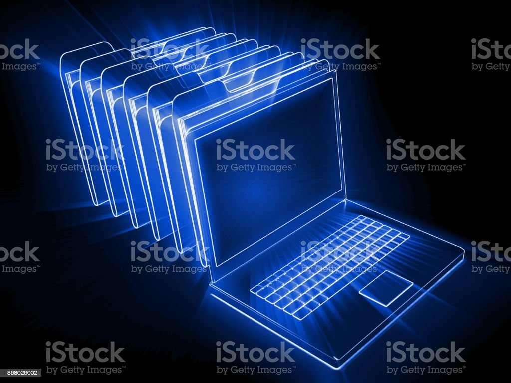 Computer laptop file folder big data search stock photo