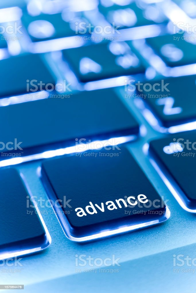 Computer laptop keypad 'advance' button. royalty-free stock photo