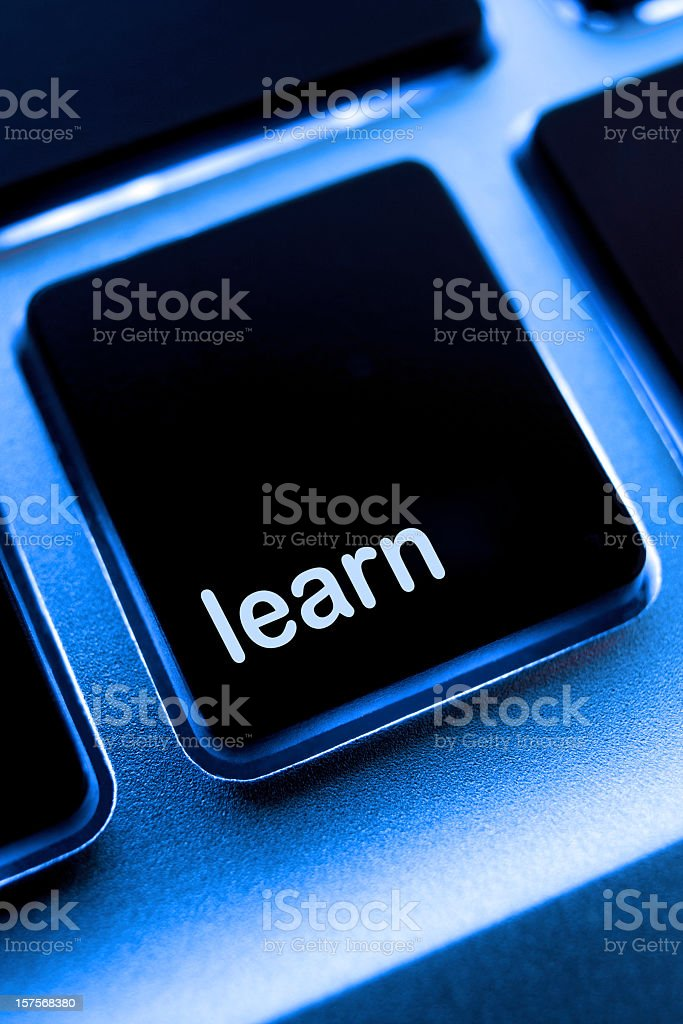 Computer laptop keypad 'learn' button. royalty-free stock photo