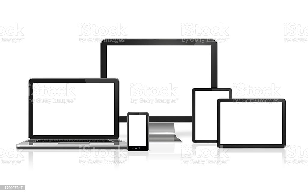computer, laptop, mobile phone and digital tablet pc royalty-free stock photo