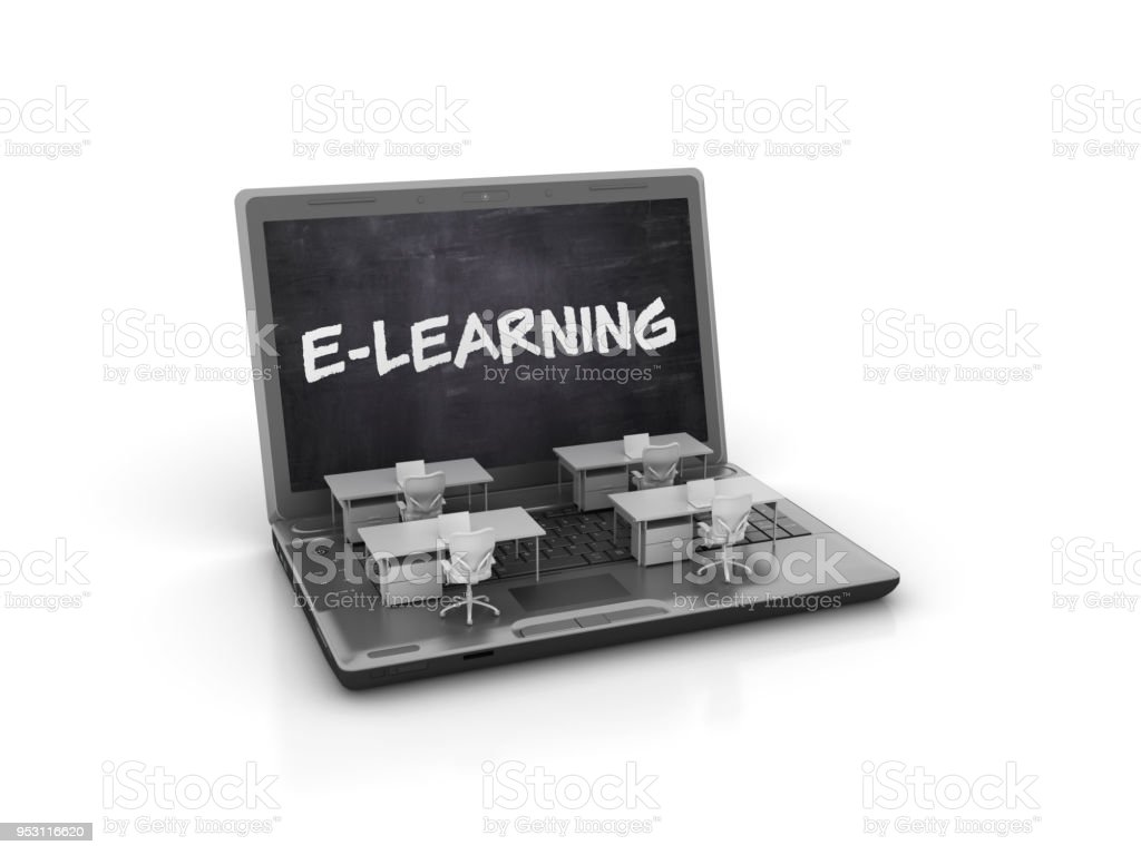 Computer Laptop mit E-Learning-Konzepts - 3D Rendering – Foto