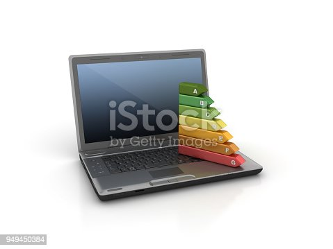 Computer Laptop with Energy Efficiency Diagram - White Background - 3D Rendering