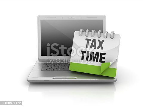 Computer Laptop with TAX TIME Calendar - White Background - 3D Rendering