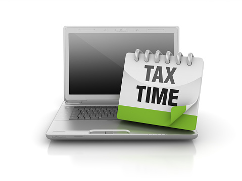 Computer Laptop With Tax Time Calendar 3d Rendering Stock Photo Download Image Now Istock