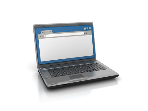 Computer Laptop with Web Browser - White Background - 3D Rendering