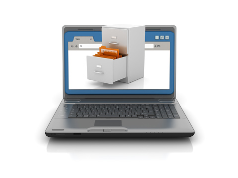 Computer Laptop with Web Browser and Archives - White Background - 3D Rendering