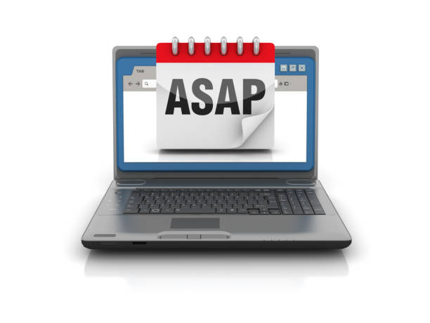 Computer Laptop with Web Browser and Deadline Calendar - 3D Rendering Computer Laptop with Web Browser and Deadline Calendar - White Background - 3D Rendering ASAP stock pictures, royalty-free photos & images