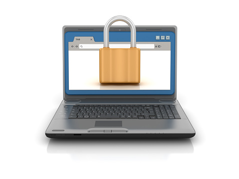 Computer Laptop with Web Browser and Padlock - White Background - 3D Rendering