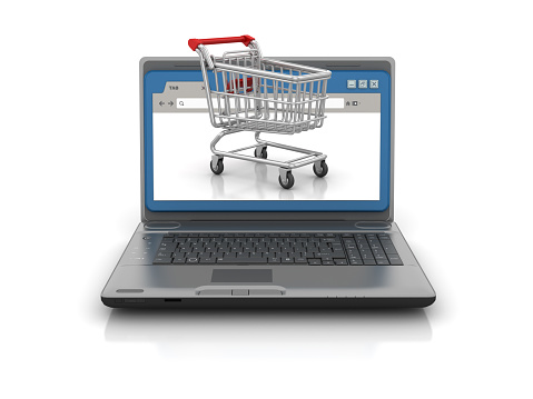 Computer Laptop with Web Browser and Shopping Cart - White Background - 3D Rendering