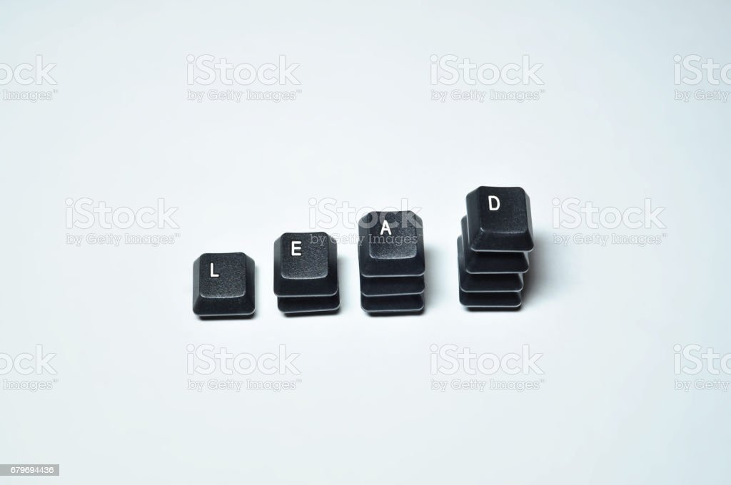 Computer letters form the word LEAD. stock photo
