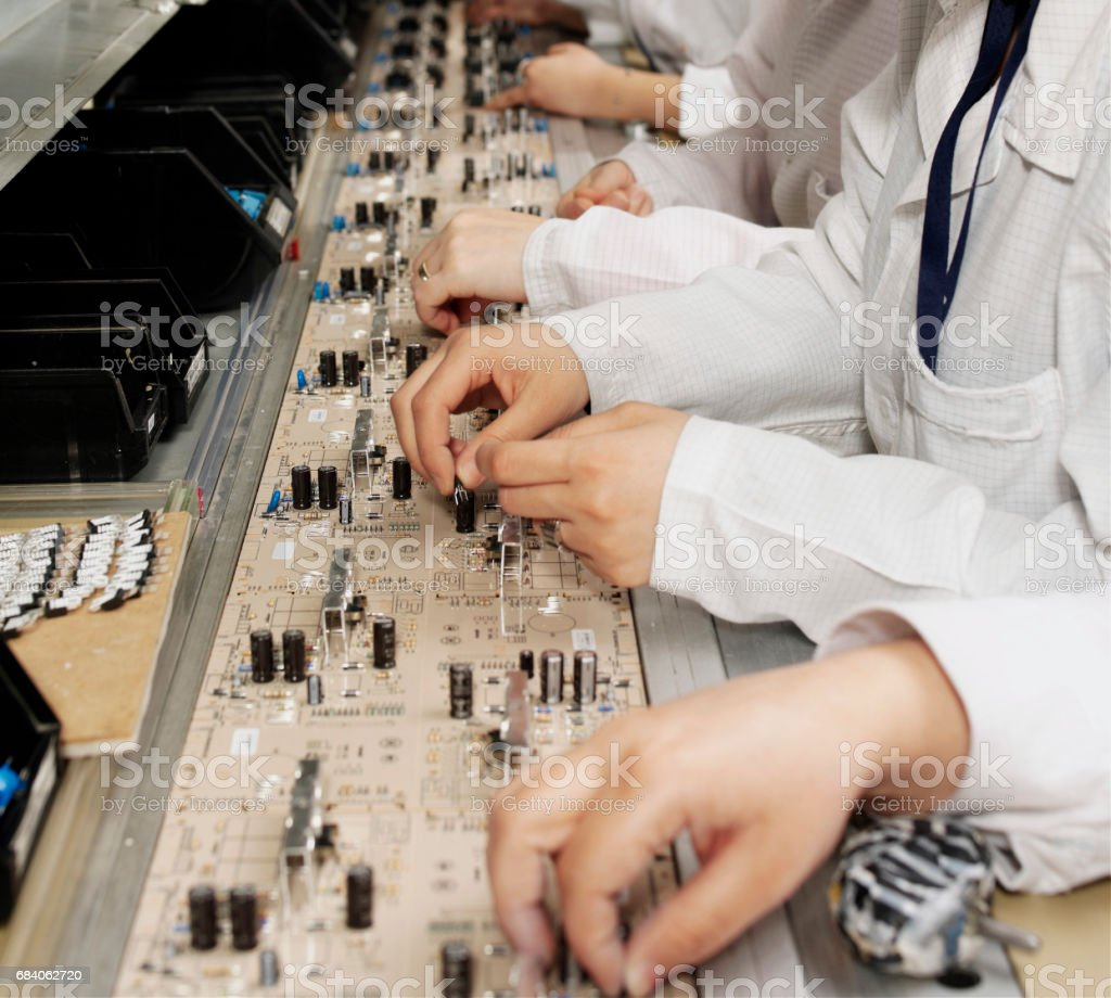 computer manufacturing production line stock photo
