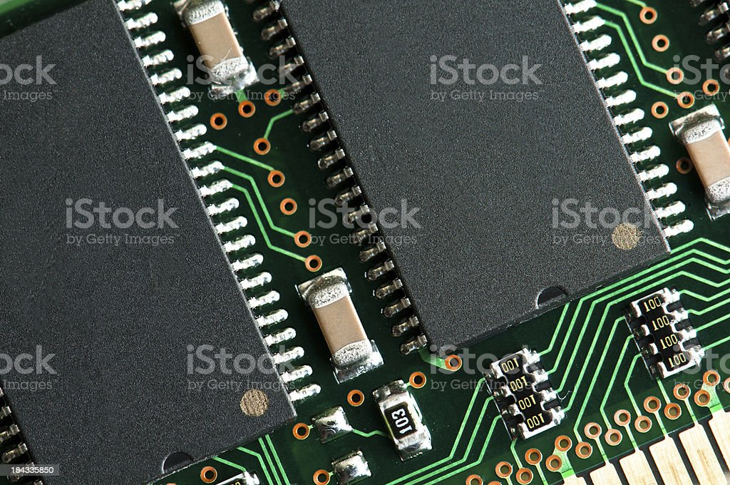 Computer memory chip board detail royalty-free stock photo