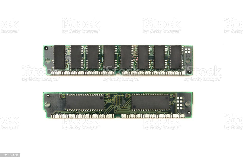 Computer memory module (ram) isolated on white background. stock photo