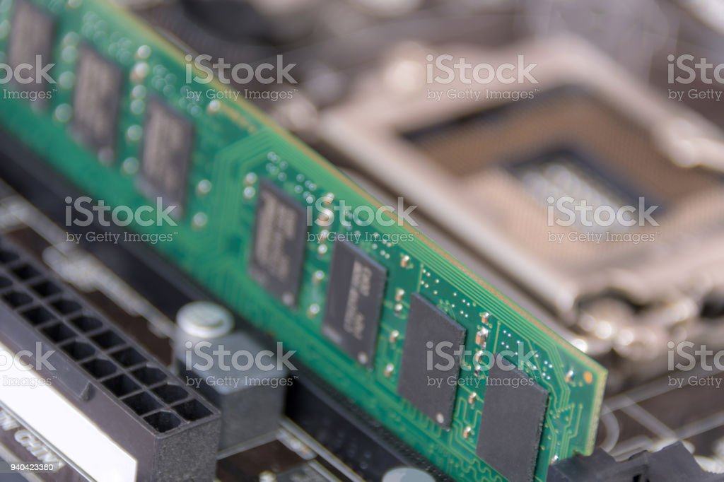 DDR RAM - computer memory - part of a desktop computer stock photo