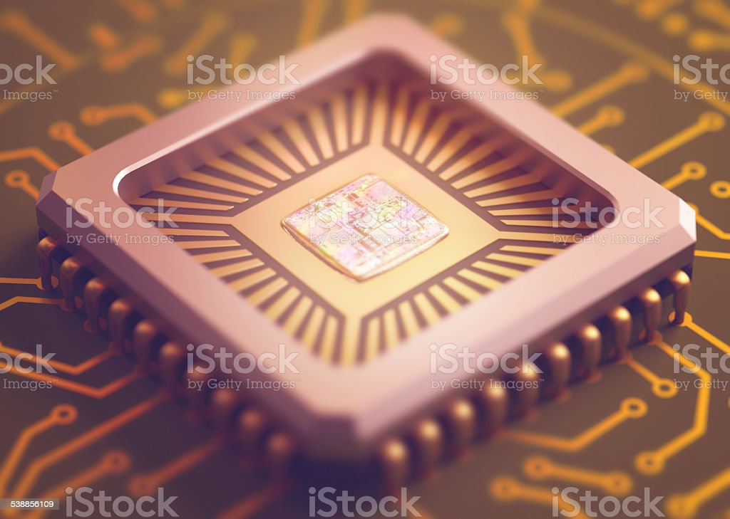 Computer Microchip stock photo