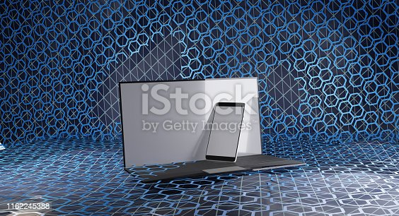 istock computer mobile phone hexagonal grid creative background 3d-illustration 1162245388
