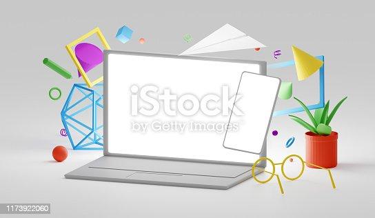 istock Computer mockup scene 1173922060