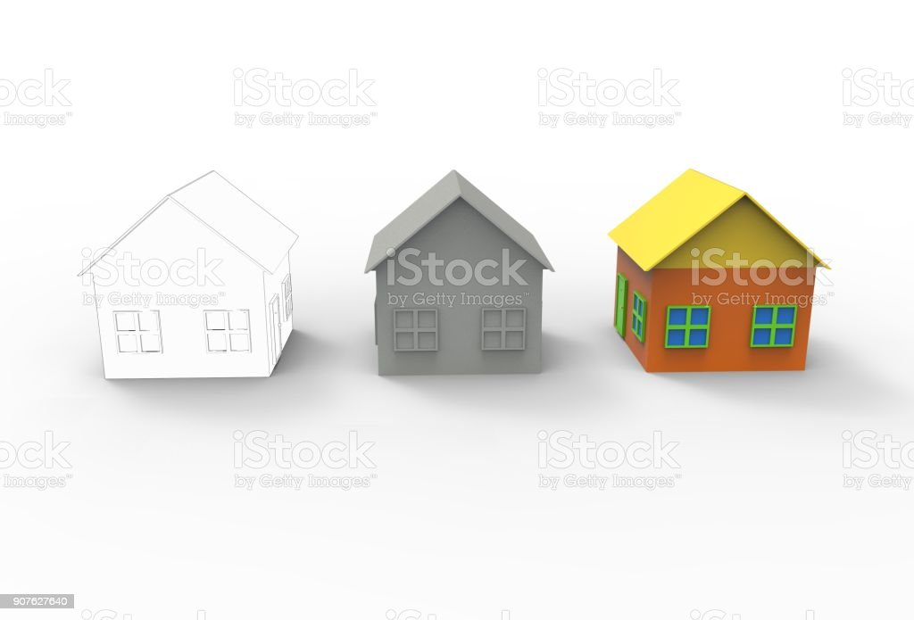 Computer modeling of buildings in 3D. stock photo