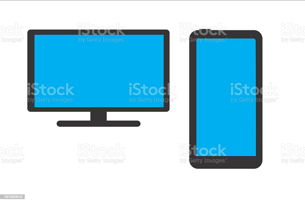 computer monitor and smartphone stock photo