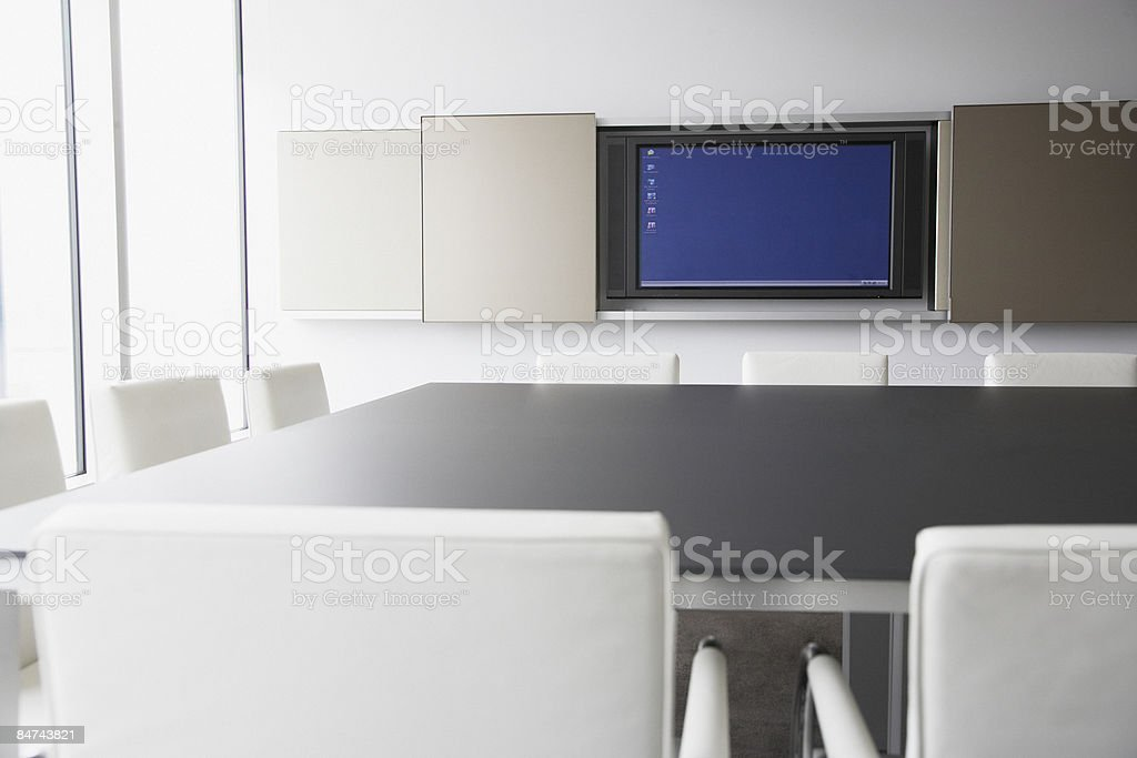 Computer monitor in conference room stock photo