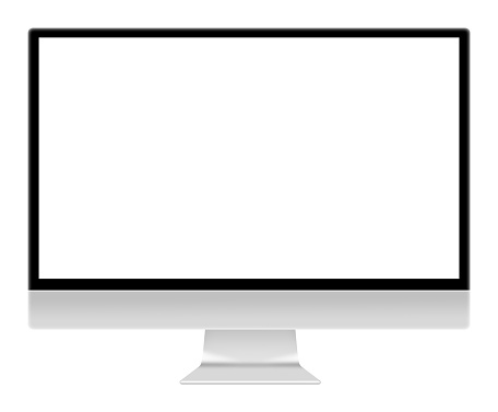 Computer monitor screen illustration isolated on white with clipping path