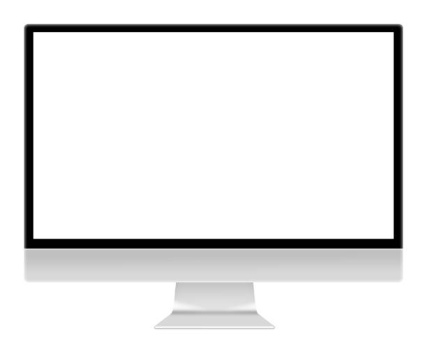 computer monitor screen illustration isolated on white with clipping path - espaço vazio imagens e fotografias de stock