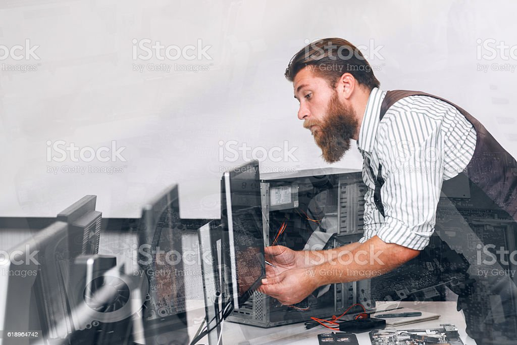 Computer monitor tuning in office, double exposure stock photo