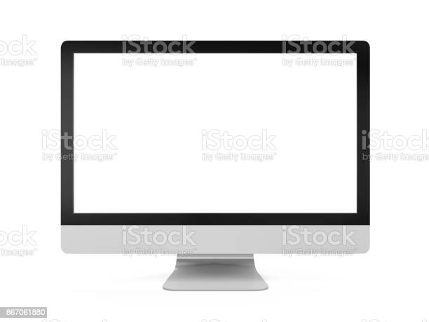Computer Monitor with Blank White Screen isolated on white background. 3D render
