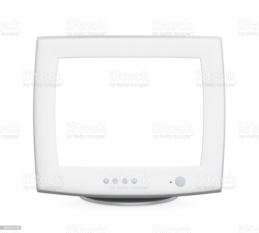CRT Computer Monitor with Blank White Screen Isolated stock photo