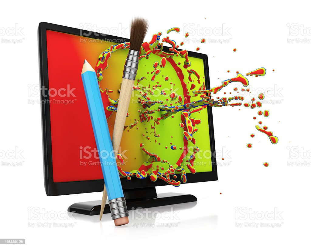 Computer monitor with colorful splash stock photo