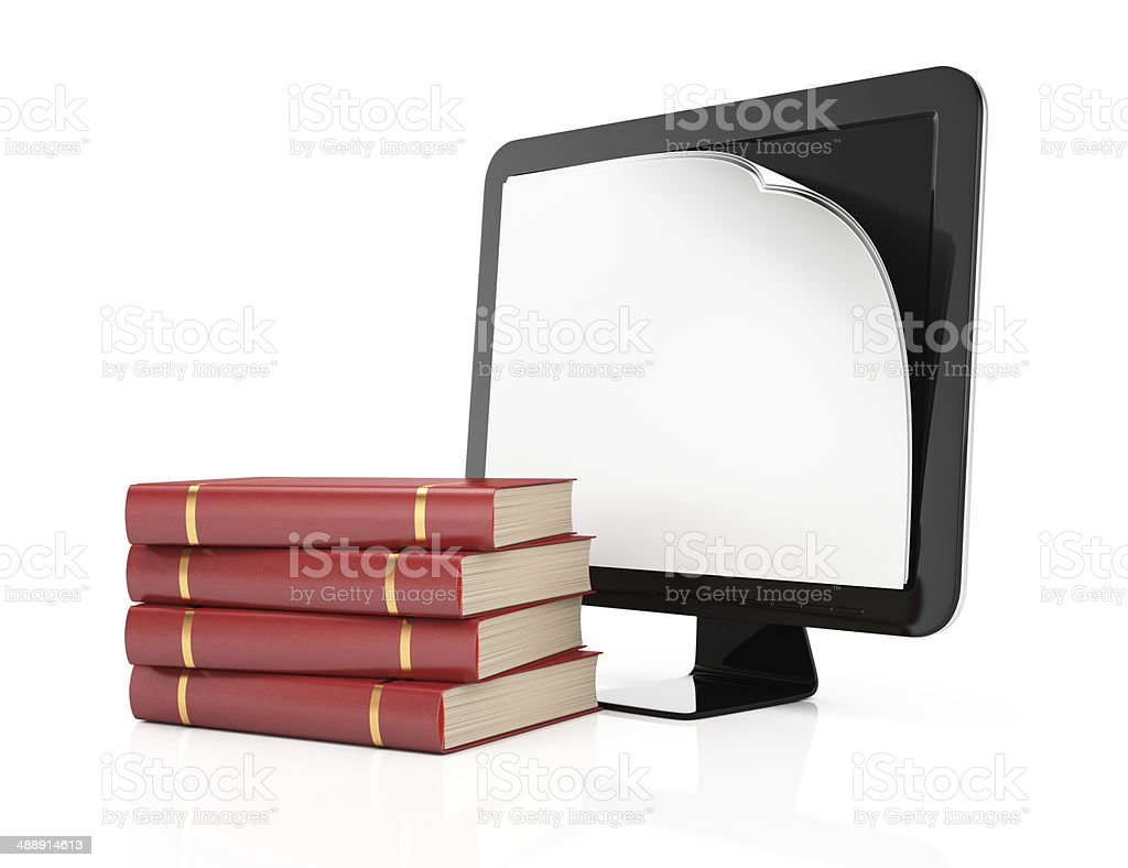 Computer monitor with paper on screen and books royalty-free stock photo