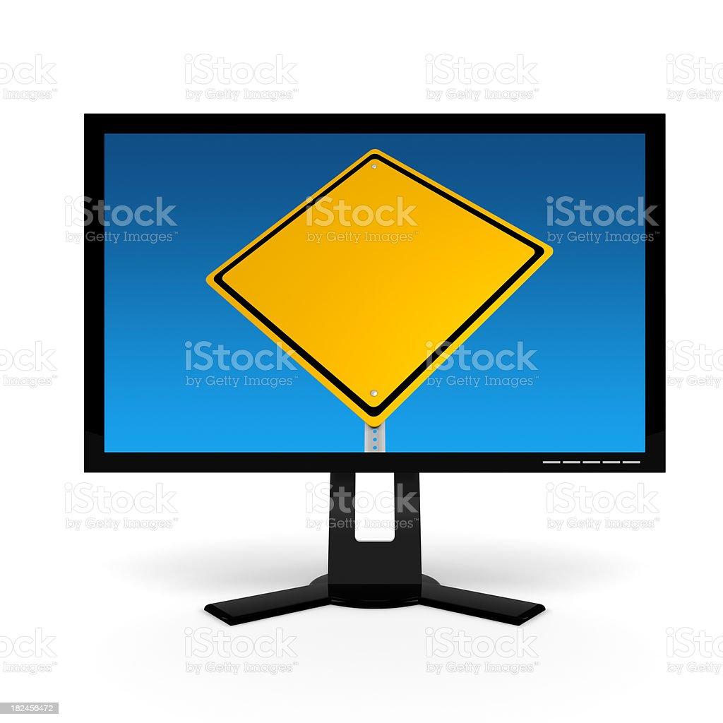 Monitor de la computadora con señal de calle foto de stock libre de derechos