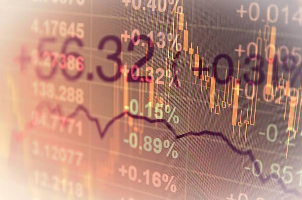 Computer-monitor mit trading-software. Finanziellen Hintergrund. – Foto